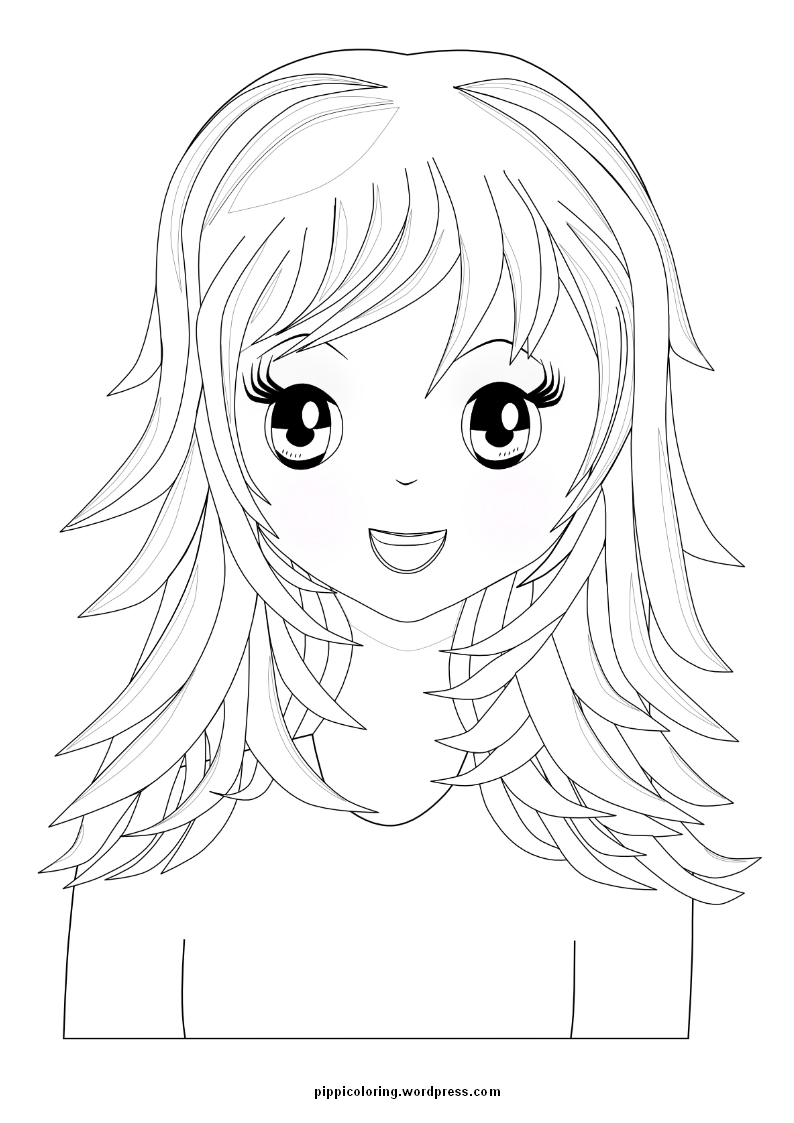 manga girl with long hair - Hair Coloring Pages