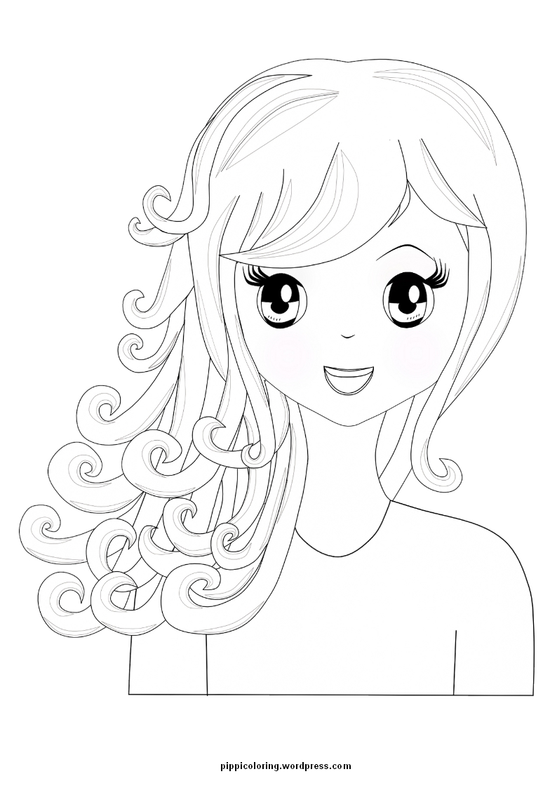 manga girl with curly hair - Hair Coloring Pages
