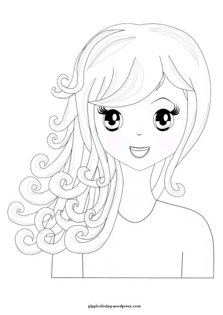 Manga girl with curly hair
