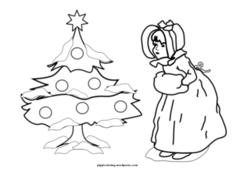 Little girl and Christmas tree coloring page